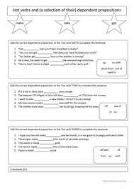 7 free esl dependent prepositions worksheets