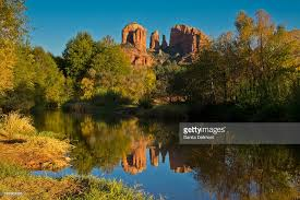 Cathedral Rock Reflections At Sunset Red Rock Crossing Red Rock Crossing Stock Photos And Pictures Getty Images