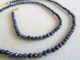 sapphire beads necklace images Handmade 18 quot genuine natural 32ct blue sapphire beads necklace JPG