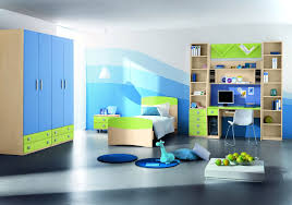 white children wardrobe design with blue curtain for modern