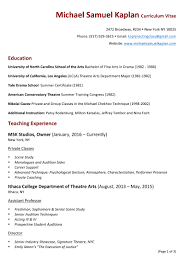 Resume To Work Michael Samuel Kaplan Teaching Resume
