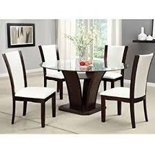 Amazoncom Manhattan Dark Cherry Finish Round Glass Top Ivory - Black dining table with cherry top