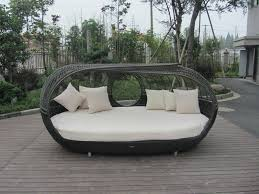 Outdoor Wicker Daybed Uv Resistant Outdoor Rattan Daybed Brown Wicker Oval Bed