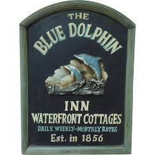 the blue dolphin inn wood advertising sign shabby cottage chic