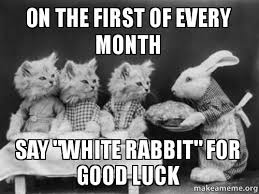 First Of The Month Meme - on the first of every month say white rabbit for good luck make