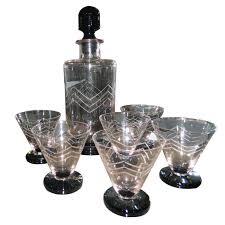unique barware deco etched glass decanter cocktail set
