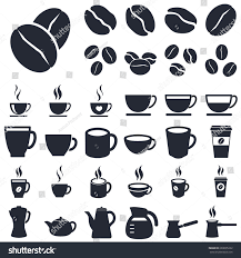 coffee cup silhouette png coffee icons coffee cups beans silhouette stock vector 603005222