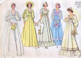 wedding dress patterns 70s bridal wedding dress pattern empire waist simplicity 7389