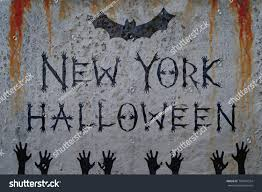inscription new york halloween on bloody stock illustration inscription new york halloween on bloody wall with bat and corpse hand silhouettes zombie poster