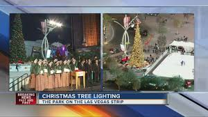 christmas tree lit at the park near t mobile arena youtube