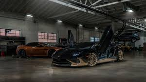 gold lamborghini this black and gold lamborghini aventador sv coupe is one of the