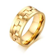 personalized gold rings 8mm wide stainless steel spinner ring personalized name ring