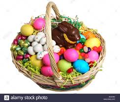 filled easter baskets easter basket filled with eggs and candy stock photo 7458641 alamy