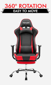 Reclining Office Chair With Footrest Black And Red Executive Recliner Office Chair With Footrest