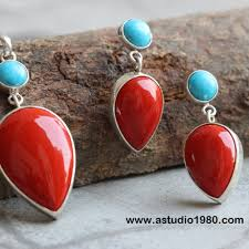 turquoise necklace earring set images Buy turquoise and coral necklace turquoise silver pendant png