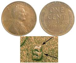 penny s 1909 s lincoln wheat cent s over horizontal s bronze composite
