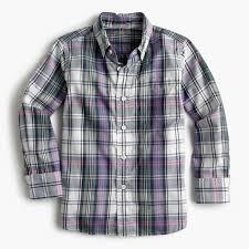 kids u0027 oxford cotton shirt in purple plaid boy shirts j crew