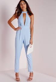 choker split front jumpsuit powder blue missguided
