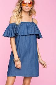 cold shoulder dress women s day dresses chambray cold shoulder dress a gaci