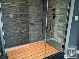 Contemporary Master Bathroom Slate Shower Walls And Wood Shower Floor Rustic Contemporary