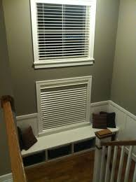 staircase landing pewter paint dark hardwood white wainscot