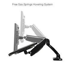 articulating monitor desk mount full motion gas spring height adjustable articulating desk mount