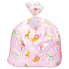 pink safari 1st birthday jumbo plastic gift bag at dollar carousel