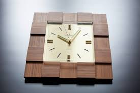 60s Clock Sale Junghans Wall Clock Astra Quartz Square Wood Decorative