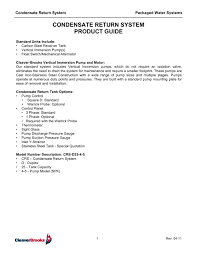 condensate return system product guide cleaver brooks pdf