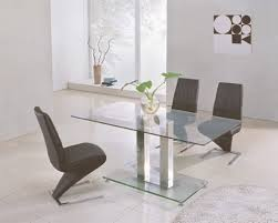 Small Glass Dining Room Tables Chrome Finished Glass Dining Table For Modern Dining Room Decor