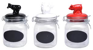 snap glass canister with animal ceramic tops set farmhouse