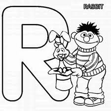 learn letter r for rabbit in sesame street coloring page bulk color