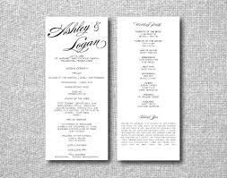 printable custom diy wedding program calligraphy tea
