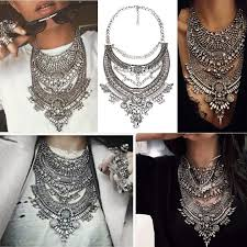 big crystal statement necklace images Classic vintage silver statement necklace jpg