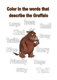 colour the words that describe the gruffalo by kayld teaching
