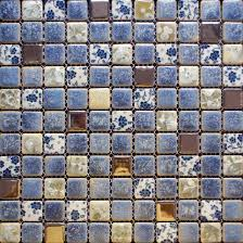plain blue mosaic tile backsplash glass tiles kitchen back splash