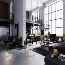 astounding industrial living room grey rug rustic decor brick wall