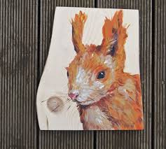 00a squirrel painting on wood 8x6 country style art baby room
