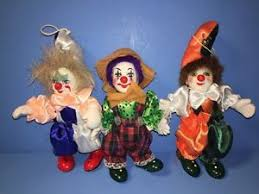 3 or clown ornaments cloth with ceramic heads