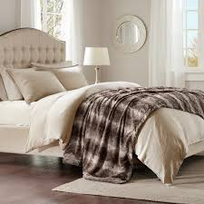 Faux Fur Comforter Madison Park Zuri Faux Fur Oversized Bed Throw Ebay