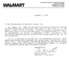 investing lessons from past wal mart dividend letter from 1985