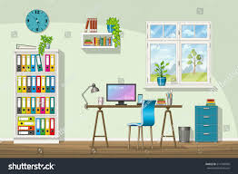 illustration interior equipment modern home office stock vector