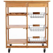 rolling bamboo kitchen island storage cart with wine rack double