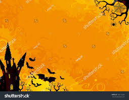 Halloween Flying Bats Halloween Background Halloween Orange Background Many Stock