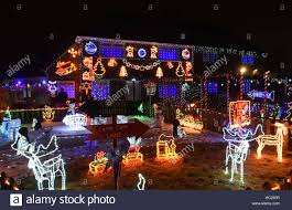 christmas lights on a house in laurel crescent in nuthall stock