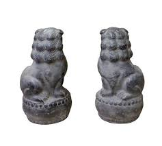 small foo dogs small pair distressed black gray fengshui foo dogs
