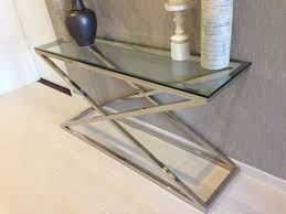 stainless steel console table large curved clear bent glass console table large curved clear bent