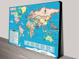Antarctica World Map by Fun World Map For Kids Canvas Print