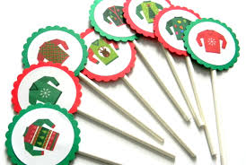 12 ugly sweater cupcake toppers ugly sweater party cake