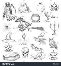 flying halloween ghost halloween sketch icons vector isolated design stock vector